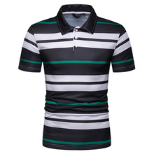 2019 Free Shipping New Summer Men's Short Sleeve Polo Shirt Male Contrast Color Stripe Print Slim Lapel Casual Mens Polo Shirt