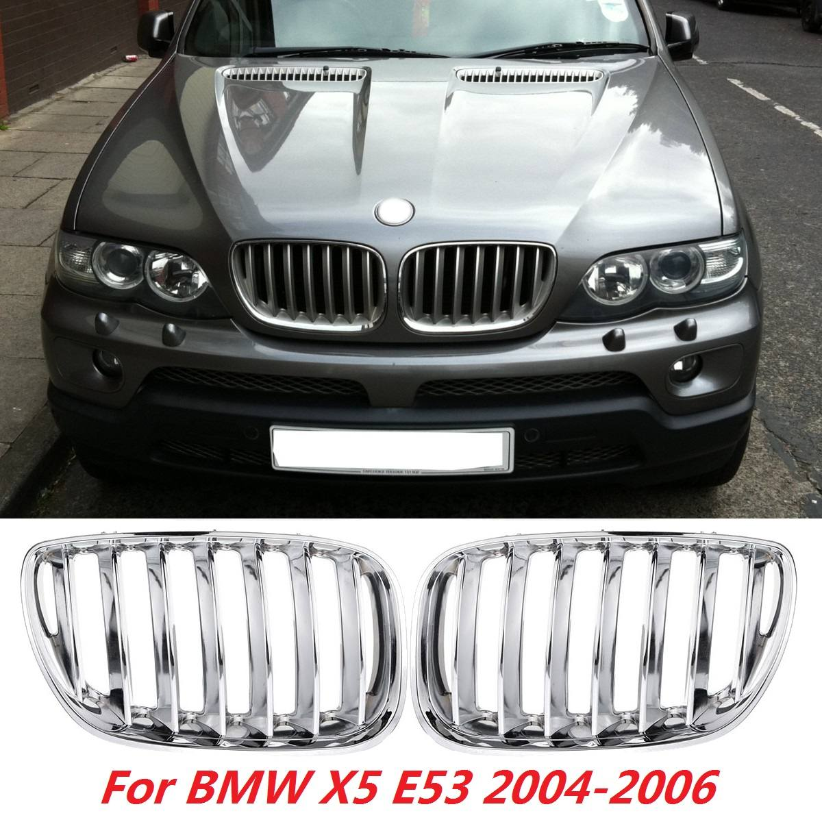 for BMW X5 E53 2004 2005 2006 Pair Chrome Front Hood Kidney Grills Grille Front Bumper