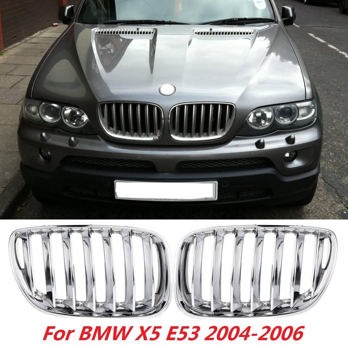 Pour BMW X5 E53 2004 2005 2006 paire Chrome capot avant rein grilles Grille pare-chocs avant calandre voiture style