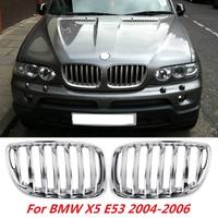 for BMW X5 E53 2004 2005 2006 Pair Chrome Front Hood Kidney Grills Grille Front Bumper Grille Car Styling