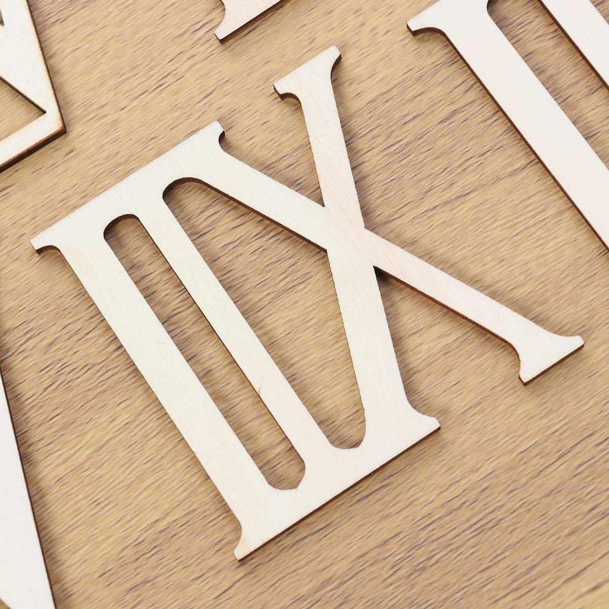 12pcs Legno Fette di Numeri Romani Numeri delle Forme Numerici In Legno Per La Casa Decorazione Regalo di Artigianato Ornamenti