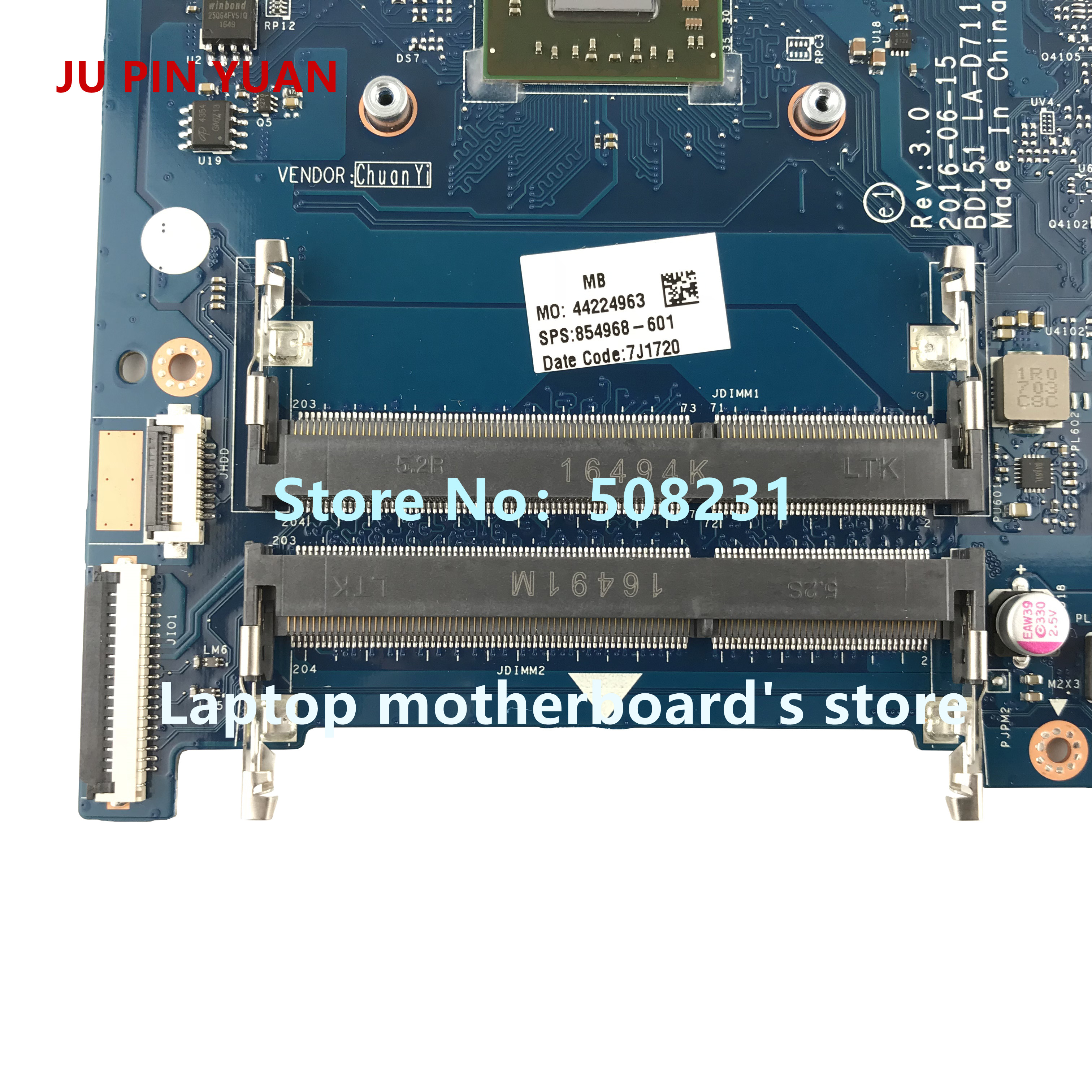 Image 2 - JU PIN YUAN 854968 001 mainboard 854968 601 for HP NOTEBOOK 15 BA 15Z BA 15 ba060nf laptop motherboard  BDL51 LA D711P E2 7110-in Laptop Motherboard from Computer & Office on
