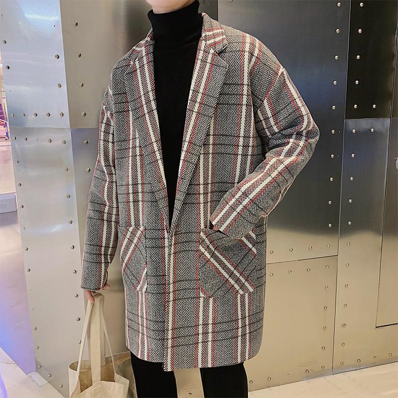 2018 Winter Lange Wind In Hong Männer Liebhaber Gitter Erhöhen Baumwolle Verdickung Mantel Windbreaker Lose Große Größe Casual Mantel Neueste Mode