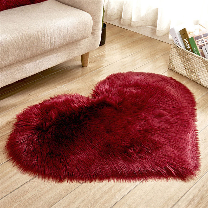 Heart Shaped Fluffy Rug Faux Fur Rug Home Bedroom Shaggy