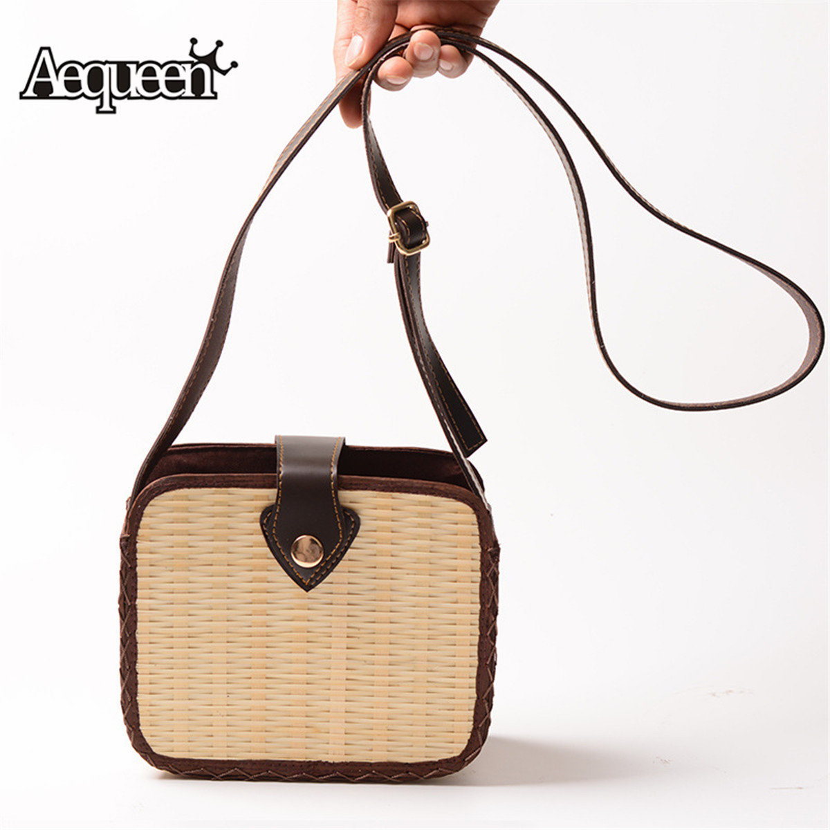 Aequeen Women Straw Weave Shoulder Lady Beach Purse Handbag Shopping Tote Bag US