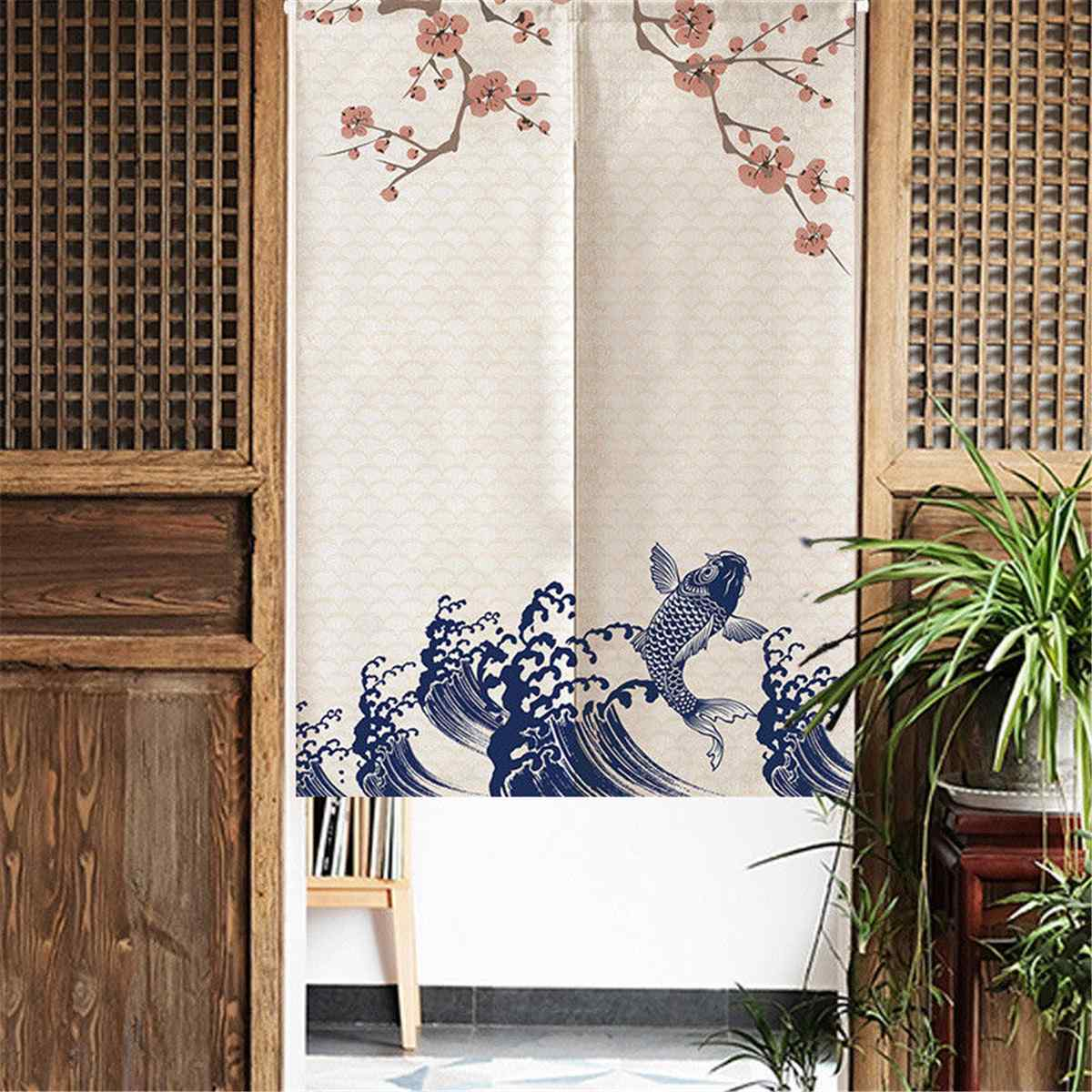 Romantic Blossom Cherry Tapestry Kitchen Curtains Japanese Noren Doorway Curtain 85X150cm Home Decorative Door Curtain