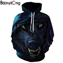 Punk wolf 3D printing hoodie unisex sweatshirt mens hooded casual pullover BIANYILONG brand custom autumn new