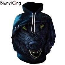 Punk wolf impressão 3d hoodie unisex moletom com capuz masculino casual pulôver bianyilong marca personalizado outono novo