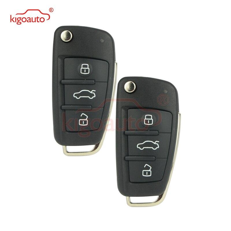 Kigoauto 2pcs flip remote key for Audi A3 TT 2007 2008 2009 2010 8P0837220D 3 button