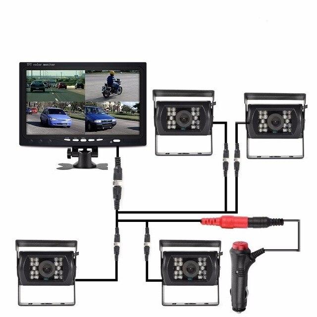 "OHANEE 7 ""TFT LCD araba monitör ekran DC 12 V 24 V ve 4 Pin IR gece görüş dikiz kamera otobüs kamyon RV karavan römorkları"