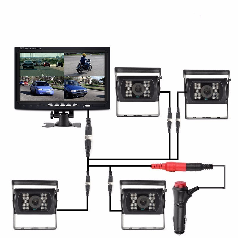 OHANEE 7 TFT LCD Car Monitor Display DC 12V 24V And 4 Pin IR Night Vision Rear View Camera for Bus Truck RV Caravan Trailers