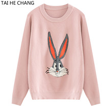 High Quality Women Causal Runway Sweaters New Fashion Designer Autumn and Winter Knitted Pullovers Pink Sweater