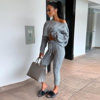 Winter Twist Knitted 2 Piece Set Casual Women Long Sleeve Pullover Sweaters Pencil Pants Set Knitting Lounge Suit