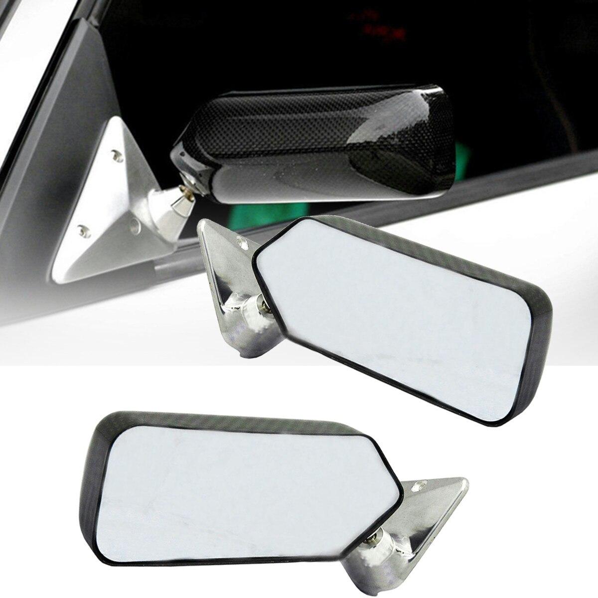 2 pièces voiture universelle en Fiber de carbone voiture Autos argent/bleu vue arrière rétroviseur latéral en verre grand Angle support en métal