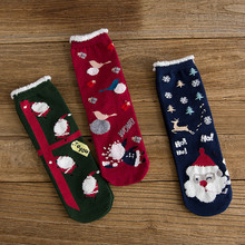 цена на 3Pairs Christmas Happy Women Socks Cotton Christmas Gift Casual Happy New Year Red Socks Santa Claus Patterned Winter Funny Sock