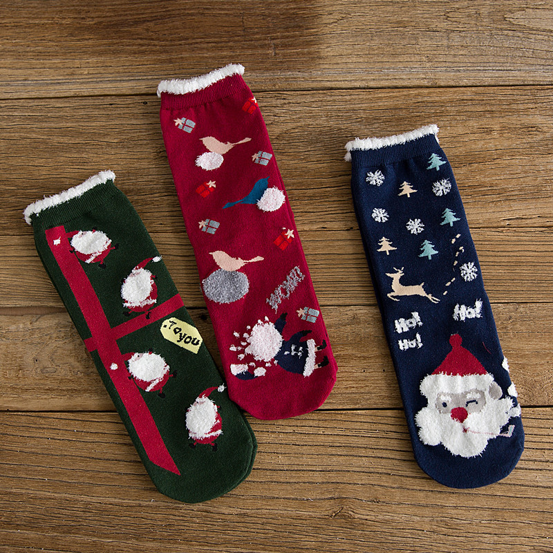 SP&CITY 3 Pairs Cotton Christmas Women Cartoon Santa Claus Patterned Happy New Year Socks Gift Box Funny Breathable Women Sox