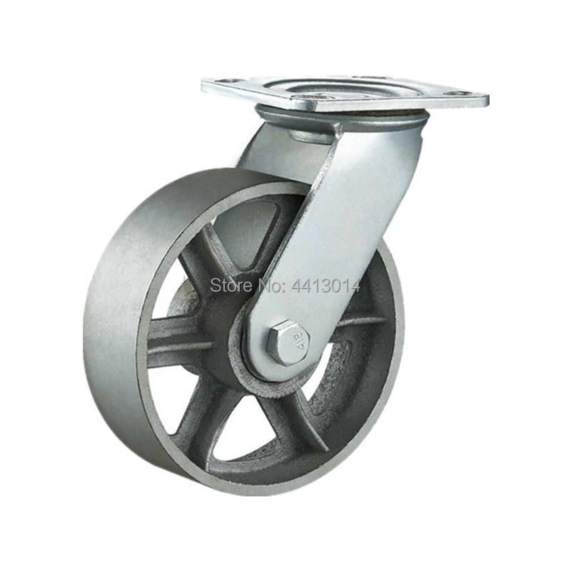 High Temperature 6 Inch 150 MM Heavy Duty Swivel Cast Iron Cart Wheel For Abusive Applications