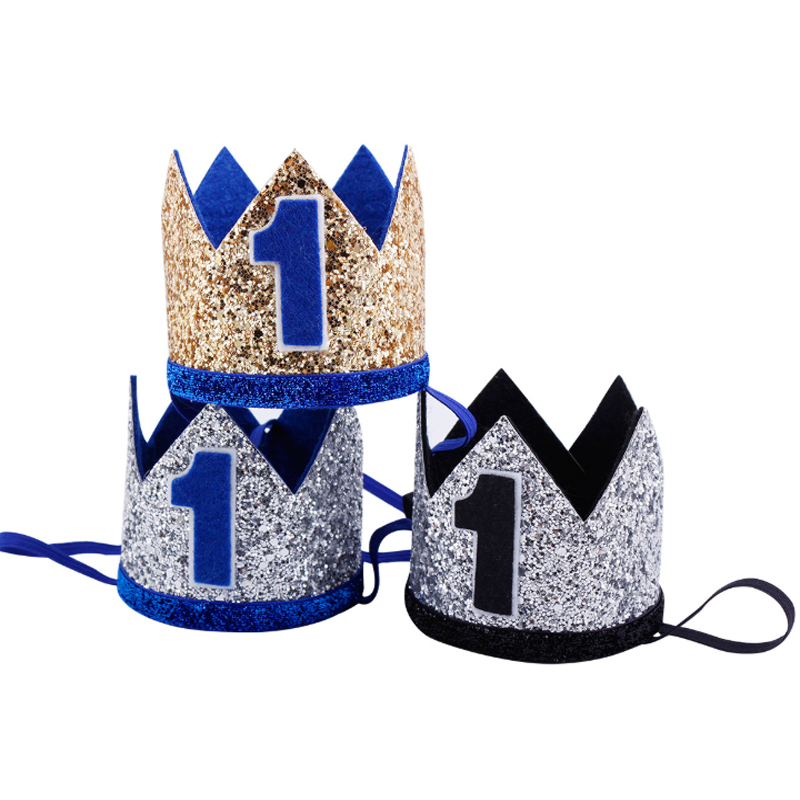 1 Pcs Creative New Boys 1st Birthday Silver Blue Gold Crown Kids Golden Boy For Cake Smash Party Hat