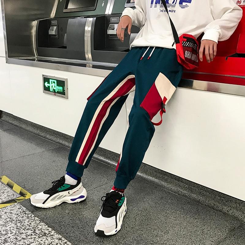 2019 Men's Fashion Hit Color Cotton Casual Cargo Pocket Pants Trousers Active Elastic Harem Hip Hop Joggers Sweatpants M-2XL