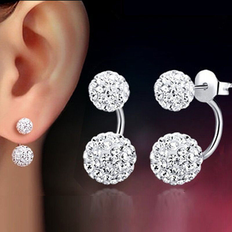 Dangle Earrings  Crystal 1 Pair  Double Beaded  Rhinestone  Lady  Women  Silver  Jewelry(China)