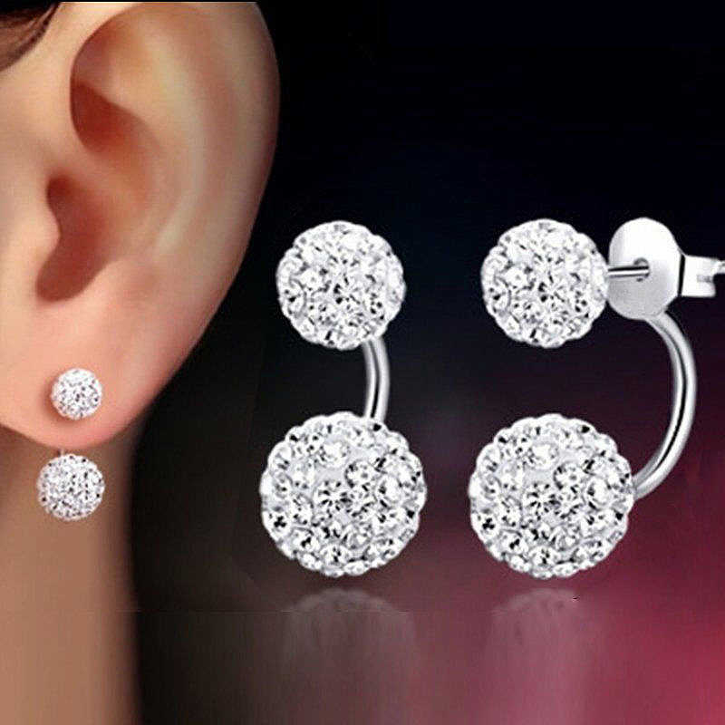Dangle Earrings  Crystal 1 Pair  Double Beaded  Rhinestone  Lady  Women  Silver  Jewelry