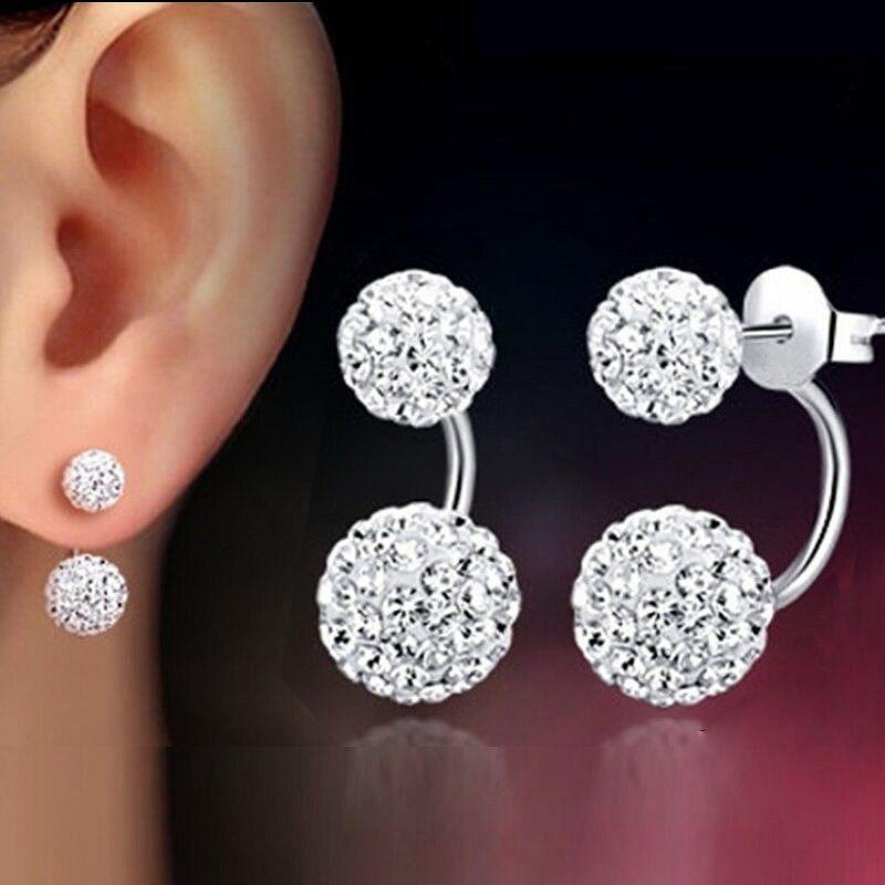 Dangle Earrings Crystal 1 Pair Double Beaded Rhinestone Lady Women Silver Jewelry