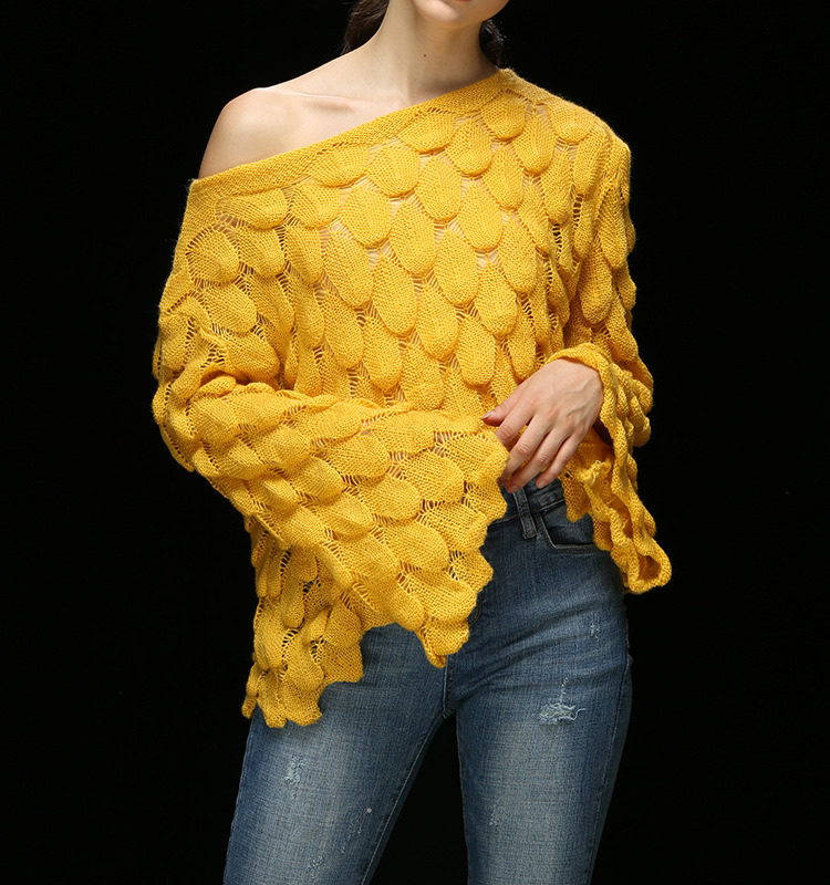 Gothic Leaf Design Sweater For Women <font><b>2018</b></font> <font><b>Autumn</b></font> <font><b>Sexy</b></font> Off Shoulder Long Sleeve Knitting Pullover Female Flare Sleeve Pull Femme image