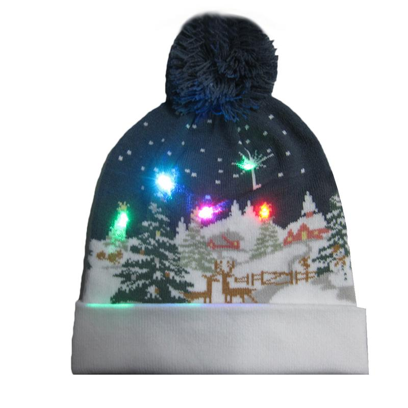 Led Light Knitted Christmas Hat Colorful Lighting Multi Pattern Knit Cap Flashing Modes Merry Gift Santa Claus Wool Warm Hats Traveling