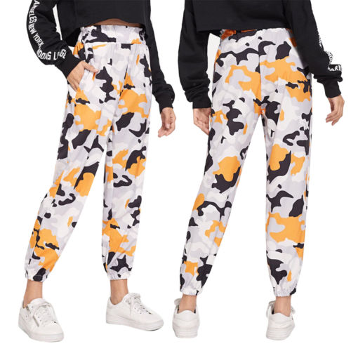 Fashion Camouflage pants women high waist loose Camo Pants Trousers Street Jogger sweatpants