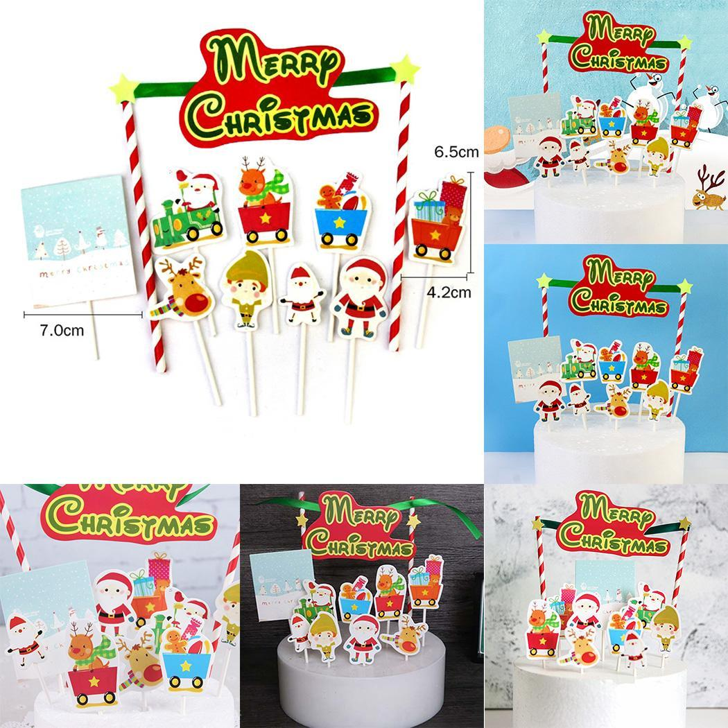 Cake Card Party Santa Christmas Decorating Multi Shape Set Claus Insert Gift Christmas Decorate Kit Plugin Reindeer
