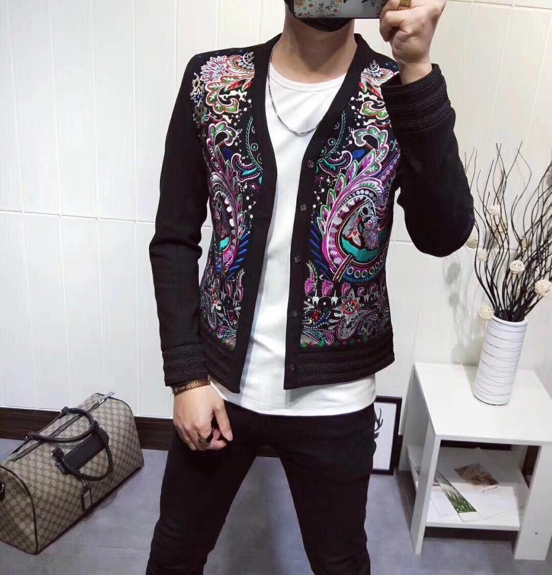 Heavy Embroidery Jacket Self-cultivation Show Star Handsome Coat Blazer Homme Heren Colberts Men Blazer Show Night Store Ma