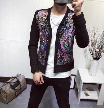 Heavy Embroidery Jacket Self-cultivation Show Star Handsome Coat Blazer Homme Heren Colberts Men Blazer Show Night Store Ma - DISCOUNT ITEM  41% OFF All Category