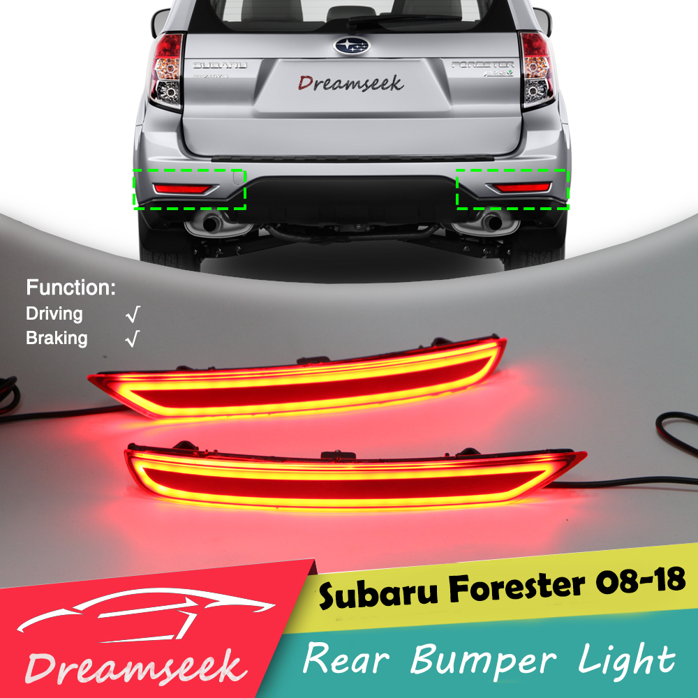 Red LED Rear Bumper Reflector Tail Light For Subaru Forester 2008 2018 Driving Brake Signal Fog