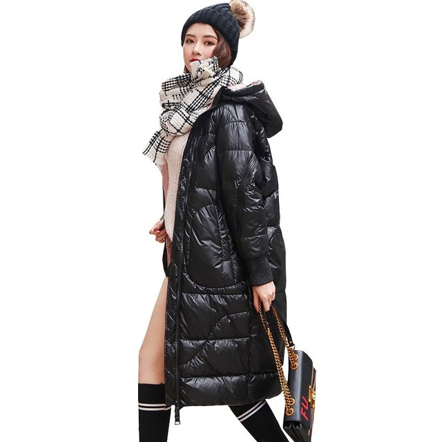 Bright Face Long Fashion White Duck Down Jacket 2018 New Hot Black Winter Coat Women Loose Hooded Casual Feathers Overcoat Ls195