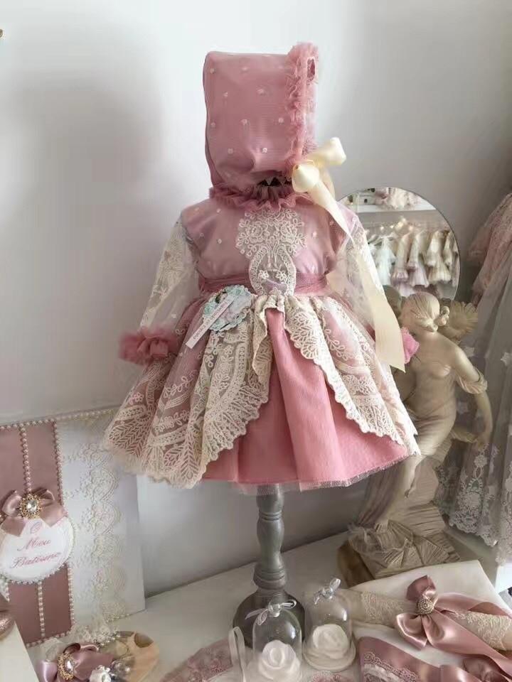 Bébé Boutique vêtements filles robes enfants robe d'anniversaire ensemble rose dentelle Style espagnol robes infantile baptême robe de soirée