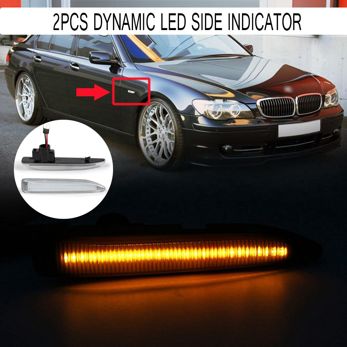 Pair Car LED Side Light Dynamic Flowing Sequential Indicator Lamp Auto Side Marker Light Turn Signal Lamp for BMW E65 E66 E67Pair Car LED Side Light Dynamic Flowing Sequential Indicator Lamp Auto Side Marker Light Turn Signal Lamp for BMW E65 E66 E67