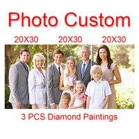 JoySunday 3 PCS Custom Photo diamond cross stitch painting of make your own picture Diamond drill full of Rhinestone embroidery