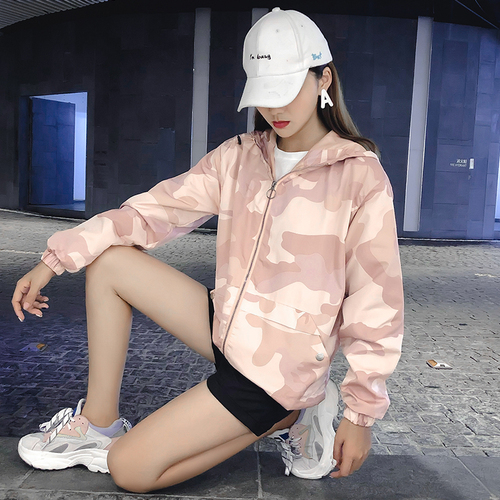 FTLZZ Hooded Camouflage Pink   Trench   Coat Spring Autumn Women's Loose Windbreaker Coat Female Military Outerwear
