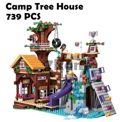 Compatible with Lego Friends 41122  Adventure Camp Tree House 41122 Emma Mia Figure Model BuildingToy hobbies For Children