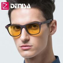 DENISA, очки ночного видения,, ультралегкие, TR90, квадратные солнцезащитные очки, мужские, поляризационные, желтые, очки для ночного вождения, UV400, T2310