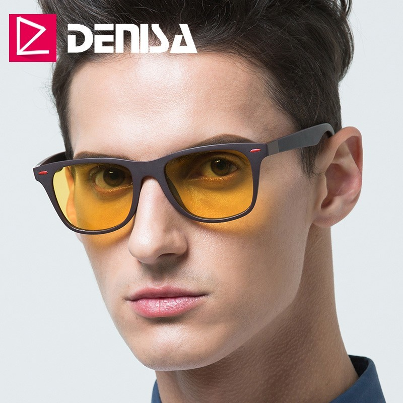 DENISA Night Vision Glasses 2019 Ultralight TR90 Square Sunglasses Men Polarized Yellow Glasses For Night Driving UV400 T2310