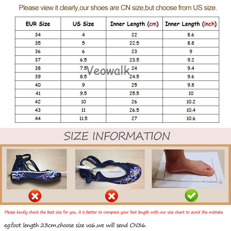 Image 5 - Veowalk Breathable Cotton Fabric Women Pointed Toe Flat Shoes Floral Embroidered Ladies Casual Walking Shoes Retro LoafersWomens Flats   -