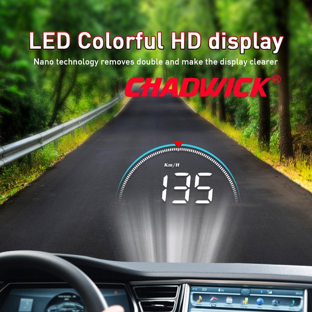 Car HUD Head Up Display driving datas on the front windshield CHADWICK M8 driving information instantly speed,RPM,water temperat