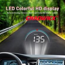 Carro hud cabeça up display de condução dados no pára brisa dianteiro chadwick m8 informações de condução instantaneamente velocidade, rpm, água temperat