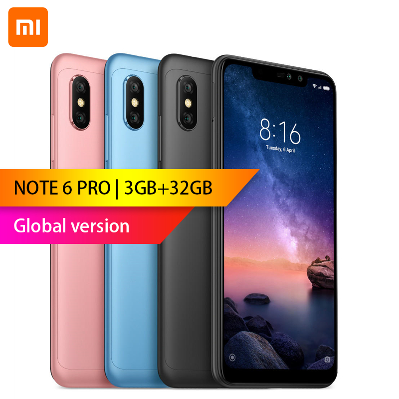 Mondial version-Xiaomi Redmi Note 6 Pro 3 GB 32 GB 6.26 pouces FHD + Snapdragon 636 Octa core 12MP + 5MP Double caméra 4G Smartphone