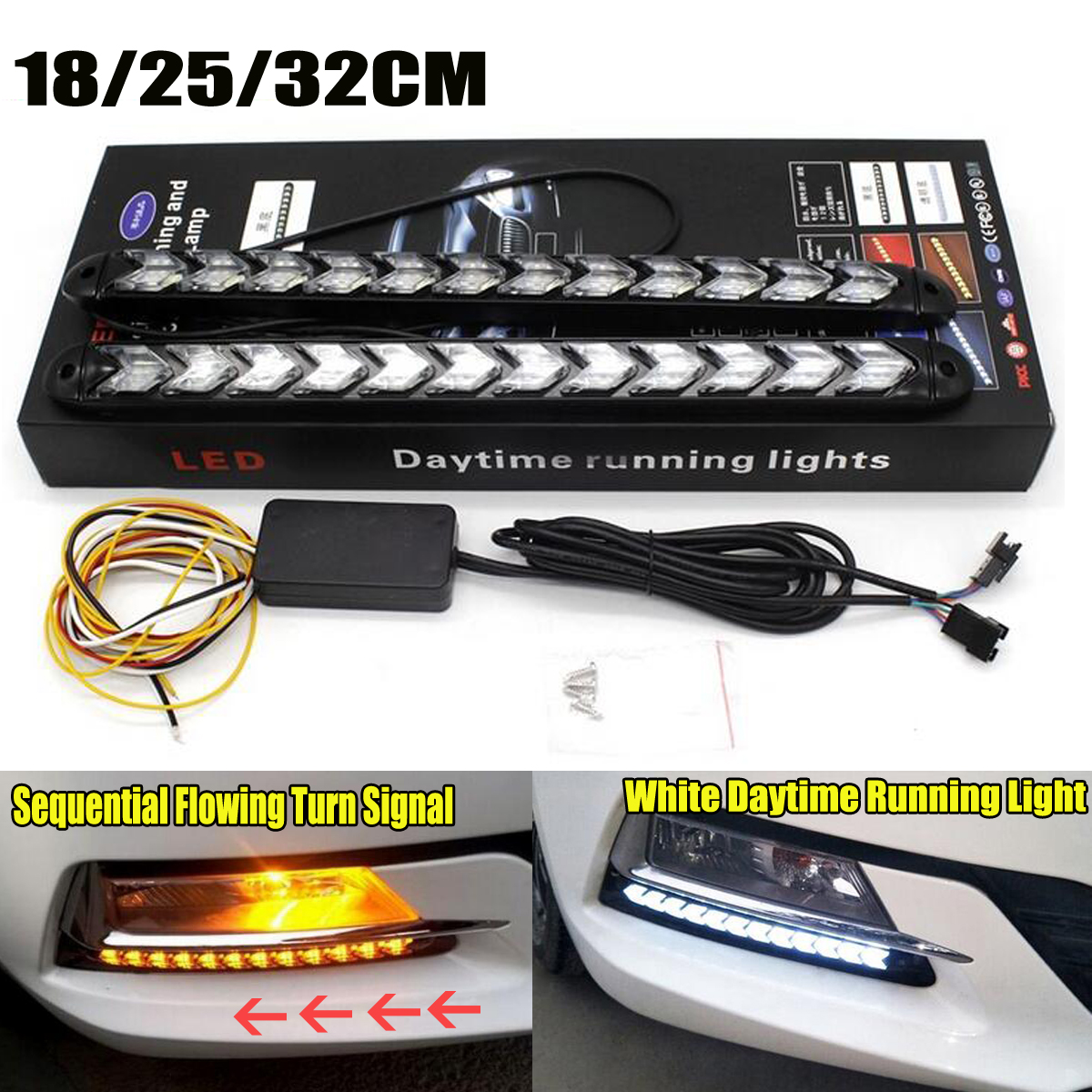 Confident 2x Led Drl Daytime Running Light Car Styling Dynamic Streamer Flow With Amber Turn Signal Warning Steering Fog Day Lamp Goods Of Every Description Are Available Car Light Assembly Automobiles & Motorcycles