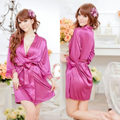 Womens Sexy Babydolls Silk Satin Deep V Bathrobe Pajamas Robe Lingerie Sleepwear Nightwear Women Clothing Sets Underwear New