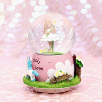 Creative Large Crystal Ball Music Box with Lights Automatic Snowing Rotating Unusual Gift for Girlfriend Snow Globes Romantic
