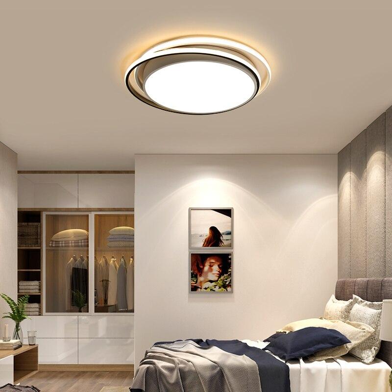 Omicron Simple Led lustres à tête ronde blanc noir lampe en fer ronde pour salon chambre maison lumière étude chambre lampes