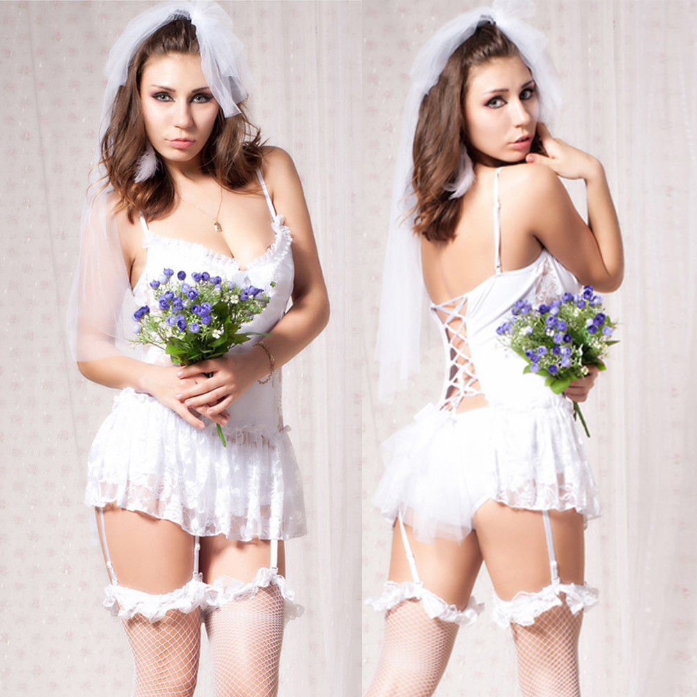 2Pcs White Bride Sexy Lingerie+Headband Lace Women Backless Lingerie Sexy  Erotic Babydoll Sexy Underwear Nightwear